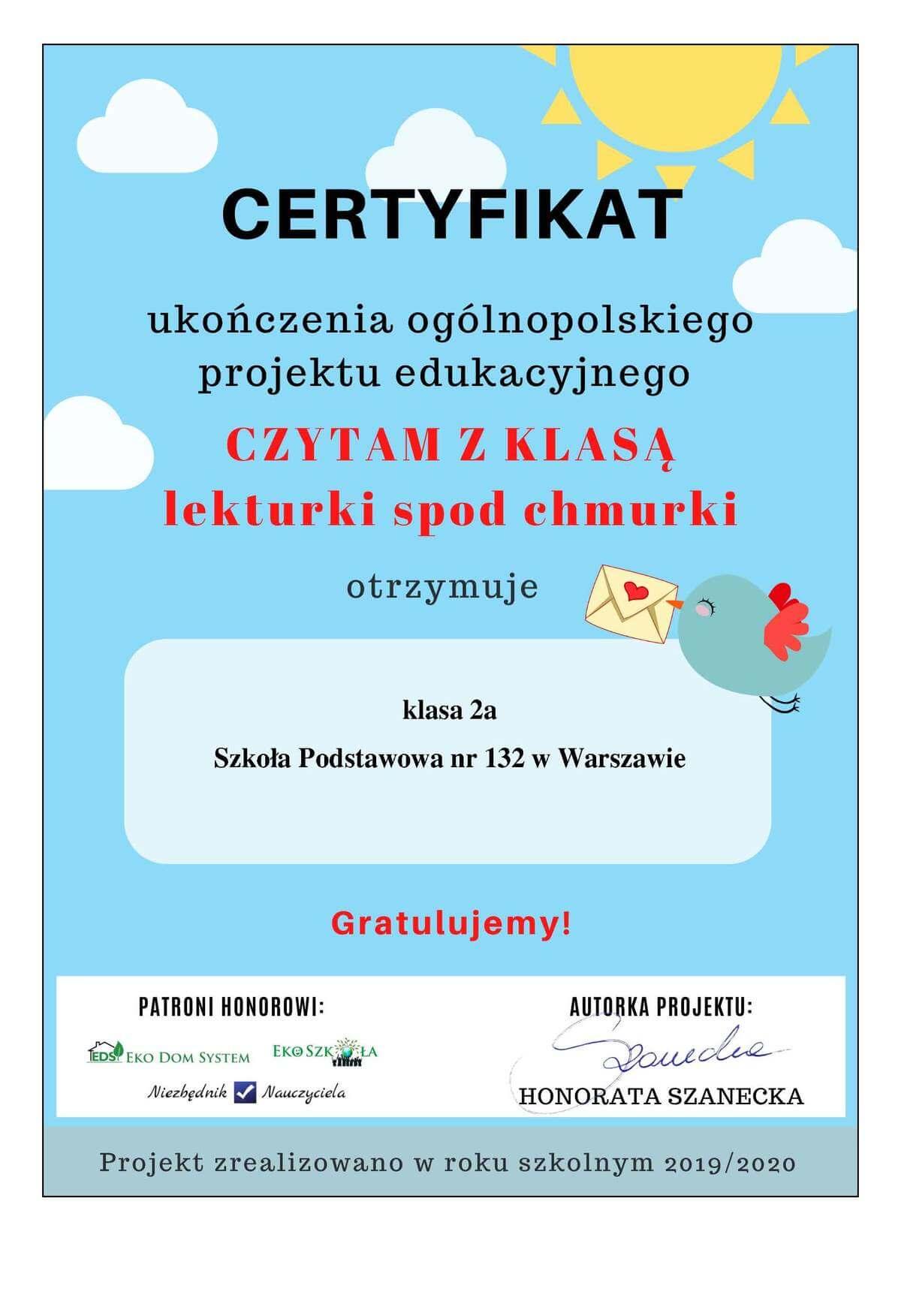 Certyfikat Czytamy z klasą